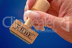 Erbe - Stempel mit Hand