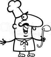 cook or chef with ladle cartoon illustration