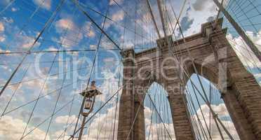 Brooklyn Bridge, New York City. Upward view with beautiful sky c