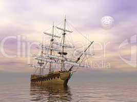 Old merchant ship - 3D render