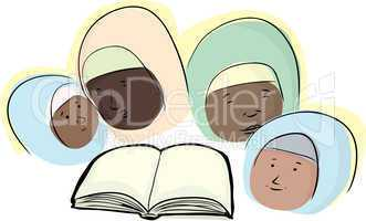 Muslim Women with Book