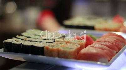 Sushi Roll On Plate.