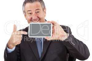 Businessman pointing to his Tablet PC