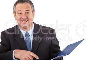 Businessman examination of documents