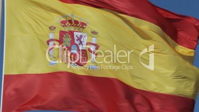 Close-up of waving Spanish flag