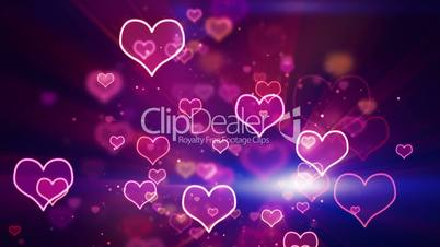 glowing neon hearts seamless loop background