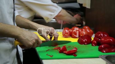 Slicing Red Pepper Close-up