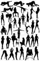 different silhouettes of the women