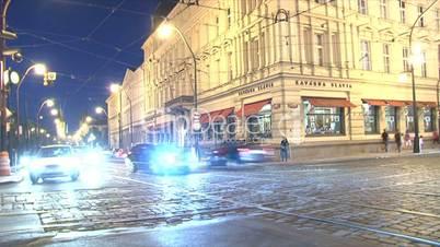 Downtown Prague traffic time lapse,Prague,Czech Republic