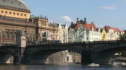 Tram at the Legion Bridge,Prague,Czech Republic