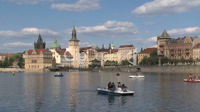 Pedalo tourism at the vltava river,Prague,Czech Republic