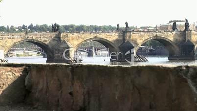 Charles Bridge slide shot,Prague,Czech Republic