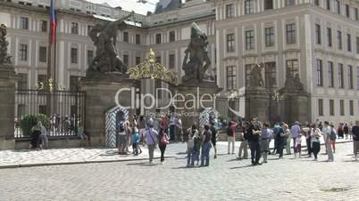 people in front of the Prague Castle,Prague,Czech Republic