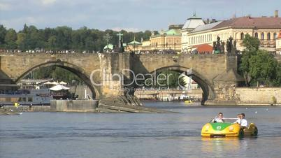Pedalo car  tourism at the vltava river,Prague,Czech Republic