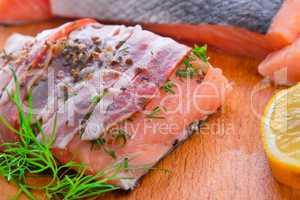 Salmon in the bacon coat