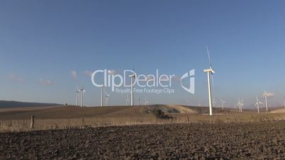 wind turbines in meadows