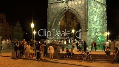 People time lapse Old Town bridge tower,Prague,Czech Republic