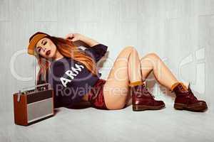 hot brunette model with radio
