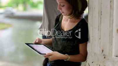 Technology, education, students, young man and woman with tablet pc