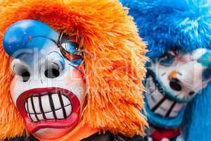 Traditional Waggis Masks At Fasnacht Festival Basel, Switzerland