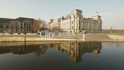 The Reichstag Building Berlin (Bundestag) Reflection with Sun in 1080p FullHD