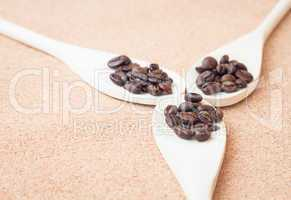 Roast coffee bean in wood spoons