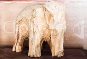 Wooden hand made carved elephant