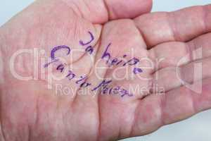 Hand of a dementia with his name