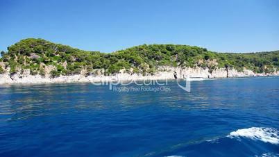 Ferry and coast of Costa Brava, Catalonia, Spain