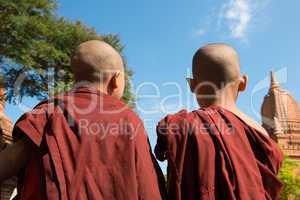 Rear view of two little monks