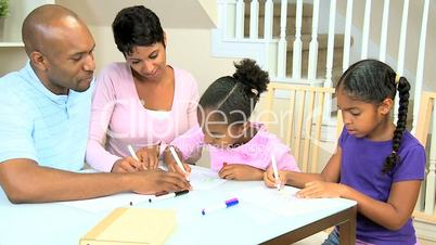 Little Ethnic Girls Using Coloring Pens