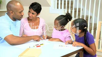 Little African American Girls Drawing Pictures
