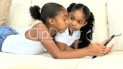 Little Girls with Wireless Tablet