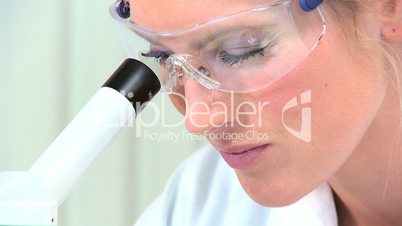 Female Student Doctor in Protective Glasses-Close up