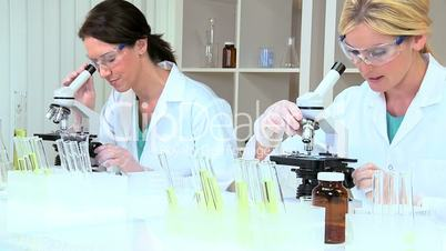 Female Medical Researchers in Laboratory