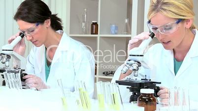 Female Medical Researchers Using Microscopes