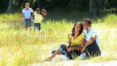 African American Family Enjoying Time Outdoors