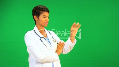 African American Doctor Green Screen Touchscreen