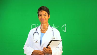 African American Doctor Green Screen Tablet