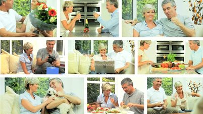 Montage of Modern Lifestyle of Middle Aged Couple