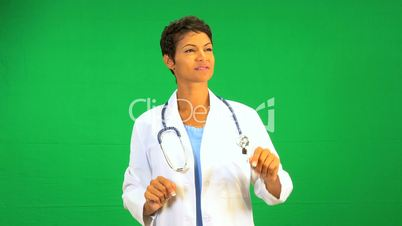 Ethnic Female Doctor Green Screen Touch screen