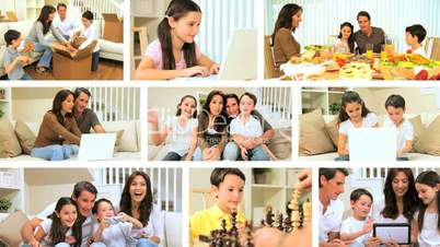 Modern Lifestyle Montage of Young Caucasian Family