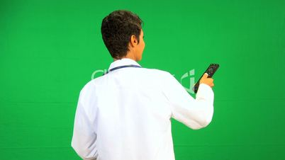 African American Doctor Remote Green Screen Technology