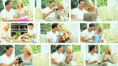 Montage of Young Caucasian Couple Leisure Lifestyle