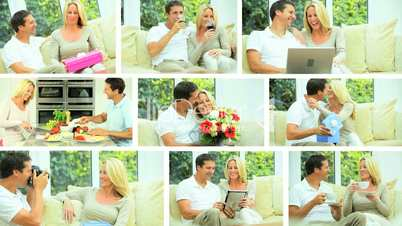 Montage of Young Caucasian Couple Enjoying Life