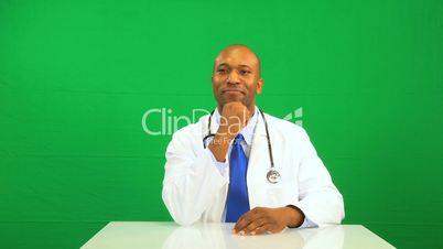 Confident African American Doctor Green Screen