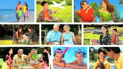 Montage of Caucasian Family Generations Outdoor Lifestyle