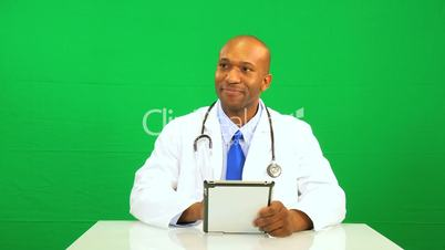 Ethnic Male Doctor Green Screen Technology