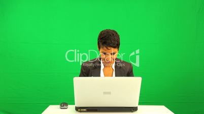 Excited Ethnic Female Green Screen Laptop Results