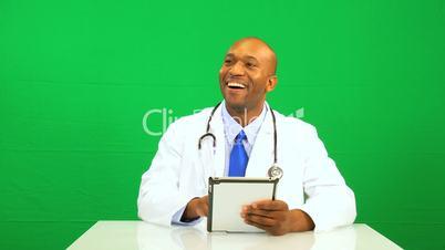 African American Male Doctor Green Screen Wireless Tablet